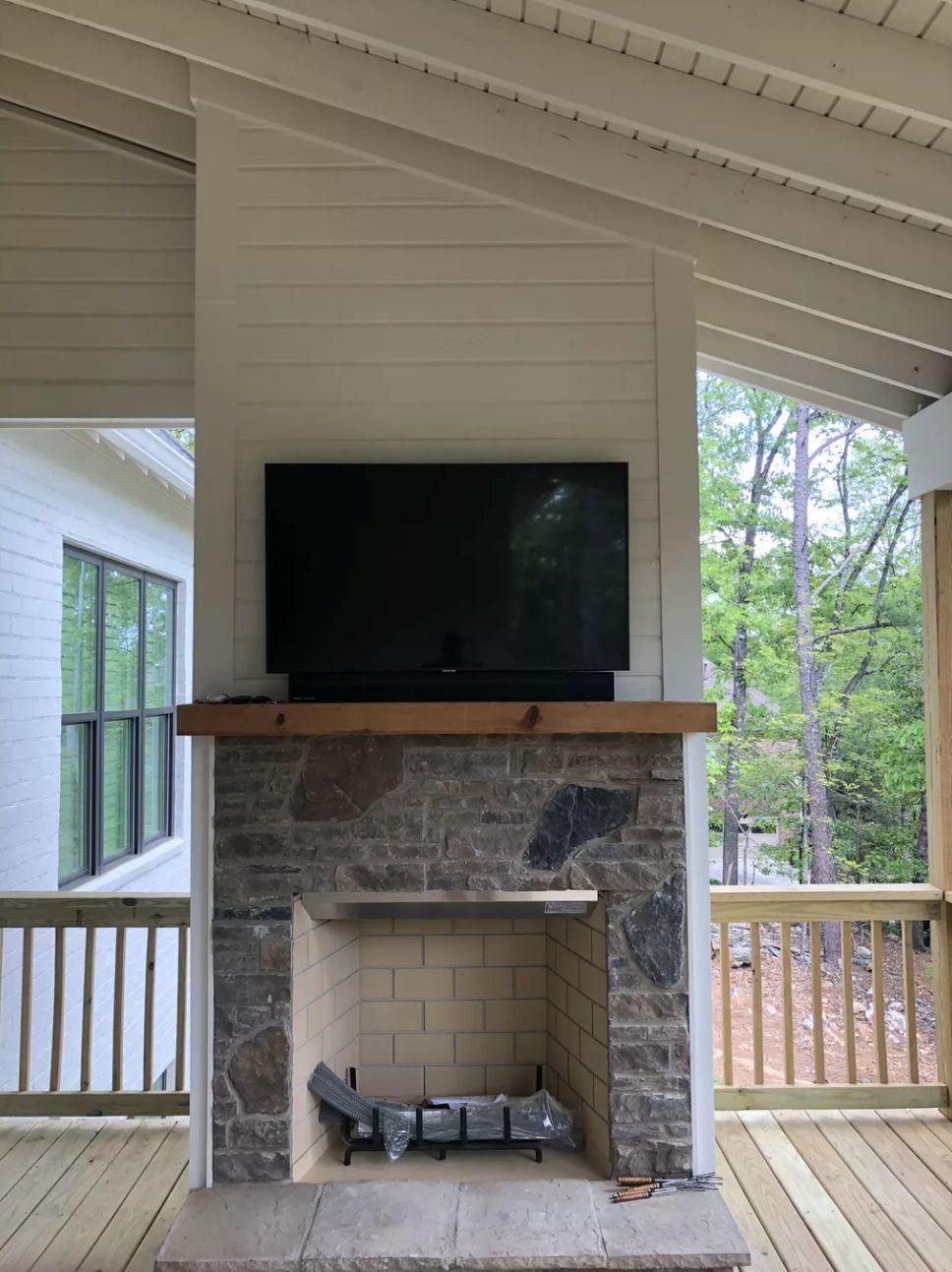 Outdoor Fireplace TV Soundbar Mount