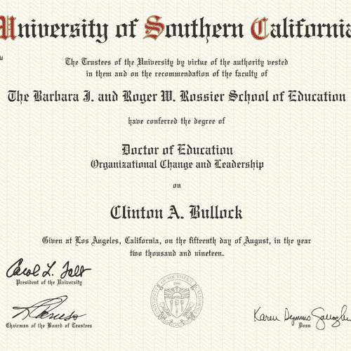 Doctoral Degree in Education (Organizational Change & Leadership)