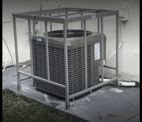 We offer installs with cages around the outdoor condensing unit; just to make sure what is yours stays yours!