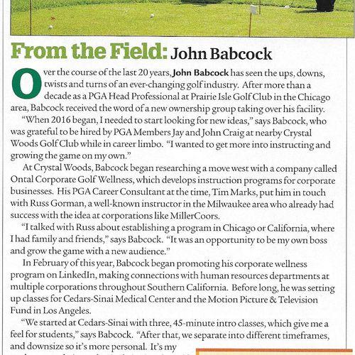 Article in PGA Magazine