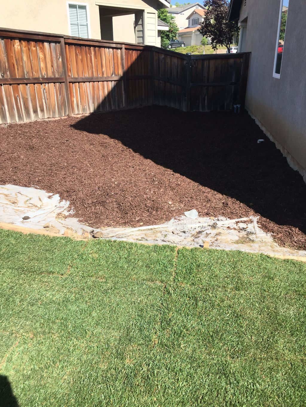 New irrigation system, 700sq ft new sod, 7 yards lava red rock