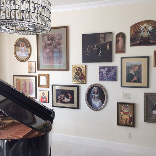 We framed and installed all these pieces of art, picture framing is another one of our services
