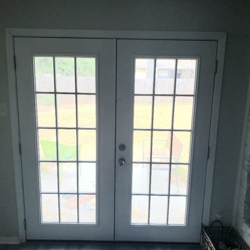After: New full reframe with door realignment. No more need to cover gaps!