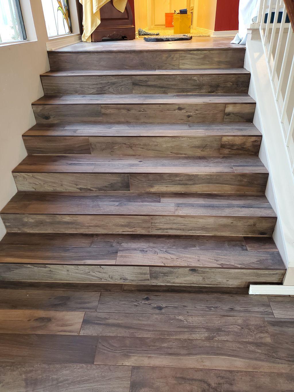 Woodlook tile flooring &stairs