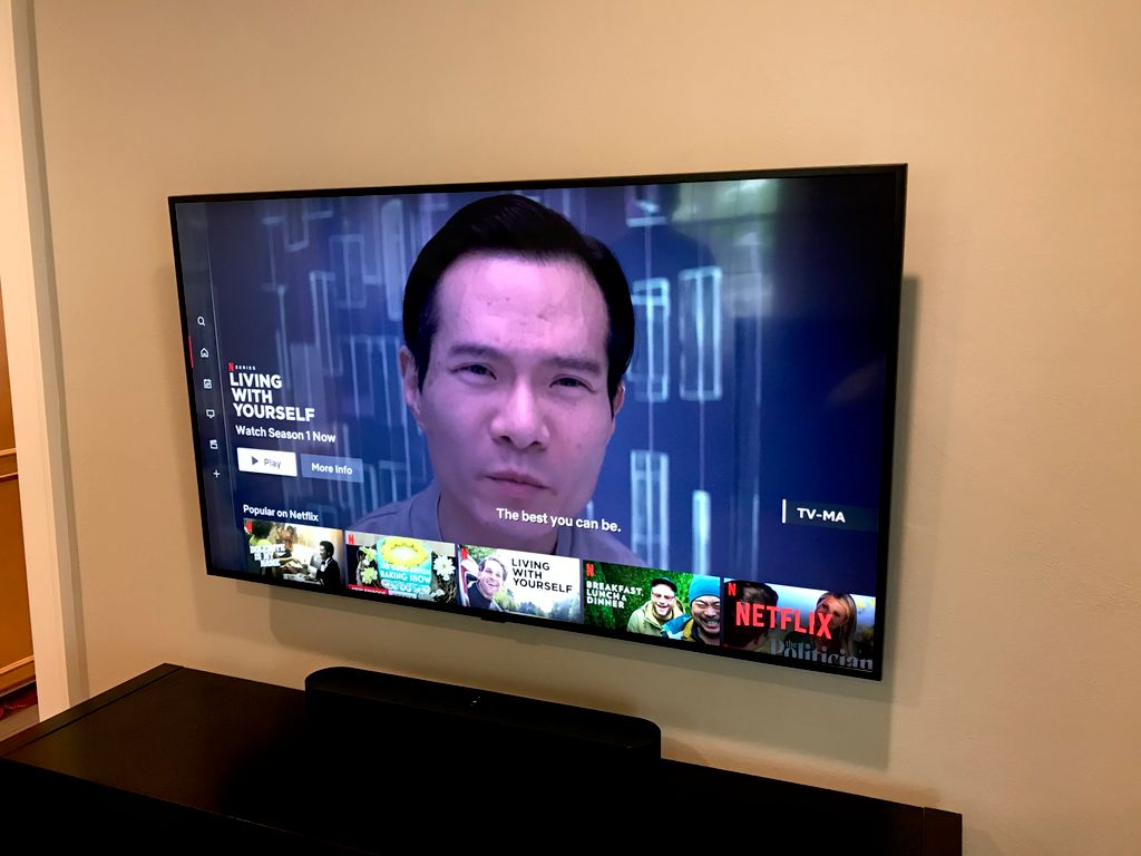 55 inch Samsung TV Mounted with No Wires in Pleasantville NY