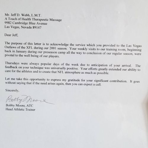 Referral letter from  NFL/XFL Head Trainer Bobby Moore