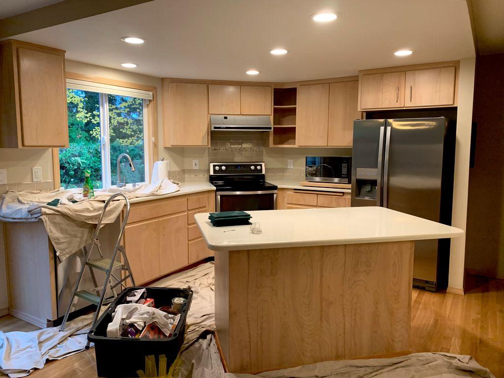White Wash Kitchen Cabinet Refinish