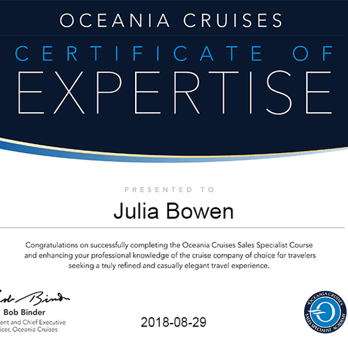 Oceania is one of my favorite cruise lines and I love booking clients with them. Why? Because everyone is always happy with Oceania!