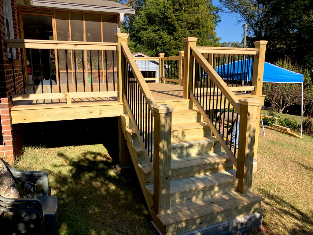 Craftsman Deck addition to existing covered porch