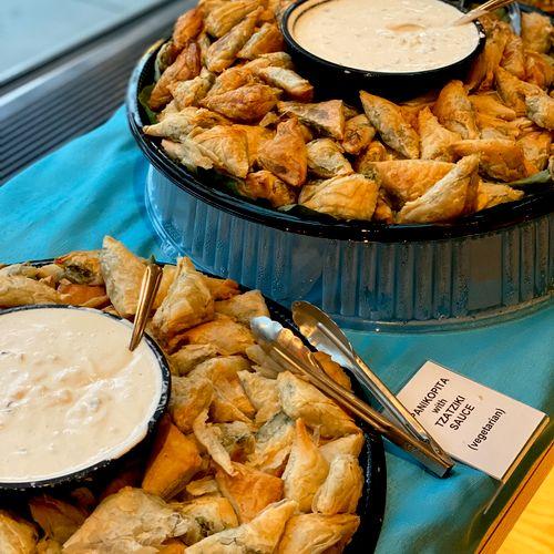 Appetizers: Spanakopita with Tatziki Sauce (vegetarian)