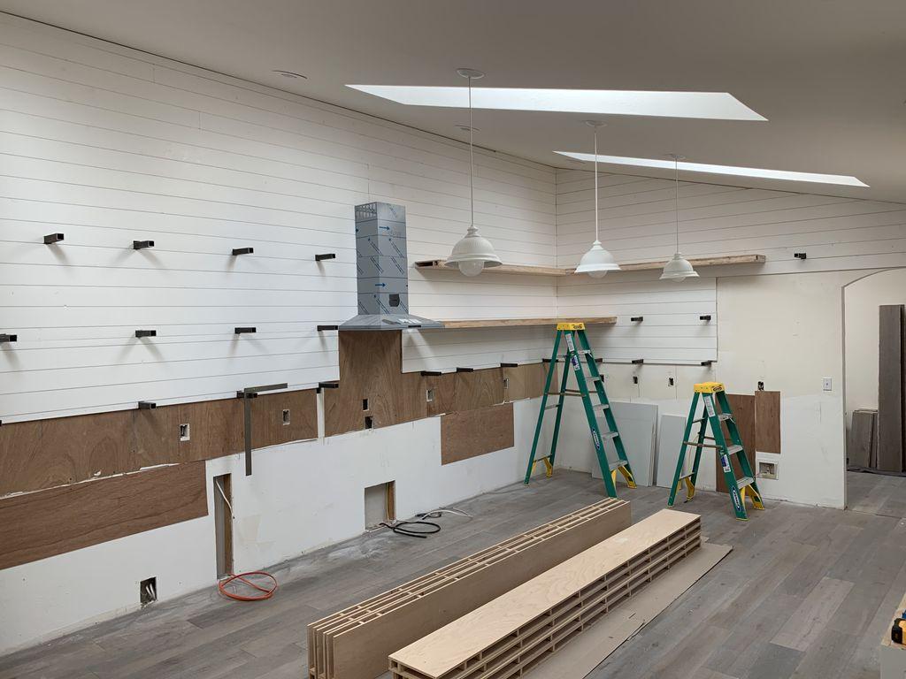 10 foot floating shelves, maple wood
