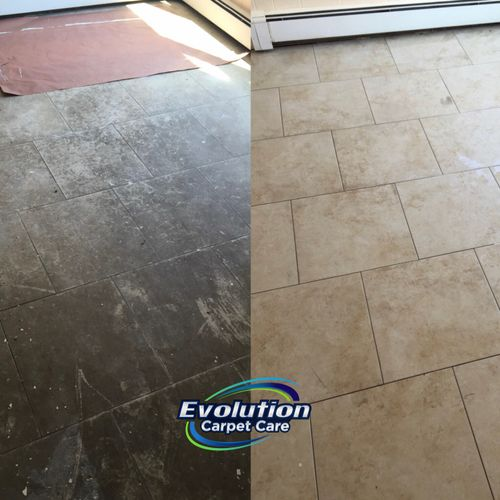 Tile and grout cleaning before and after. Tile floor looks brand new after a deep cleaning!