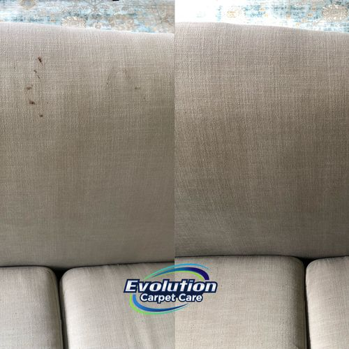 Upholstery cleaning before and after to remove chocolate stain