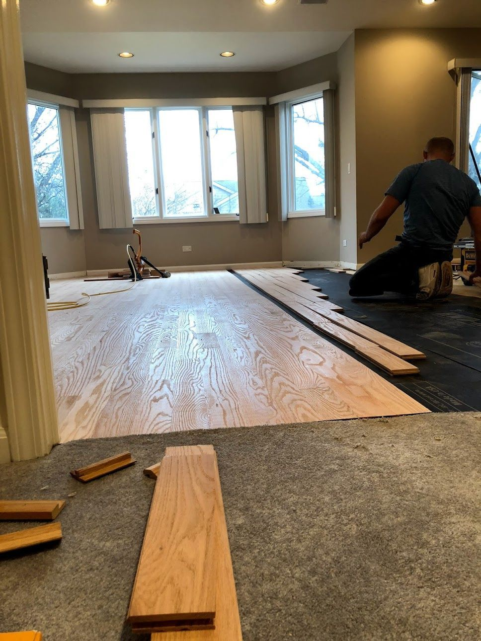 Installation, Sanding and staining