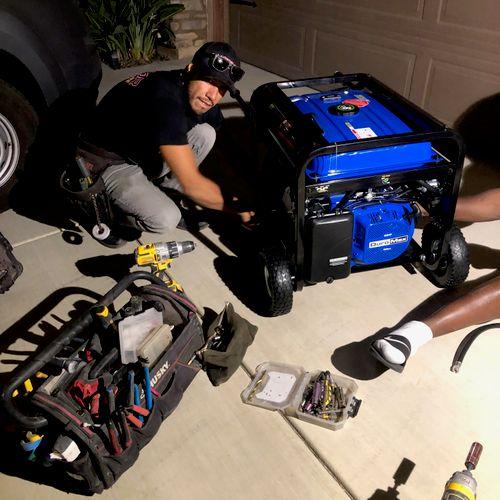 Electrical Generator Installation in Neighborhood Blackout