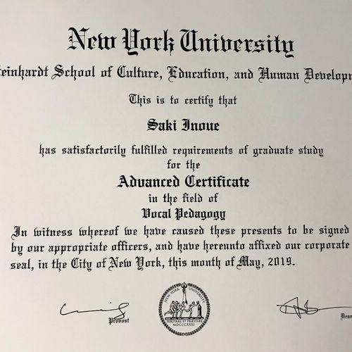 NYU Advanced Certificate in Vocal Pedagogy
