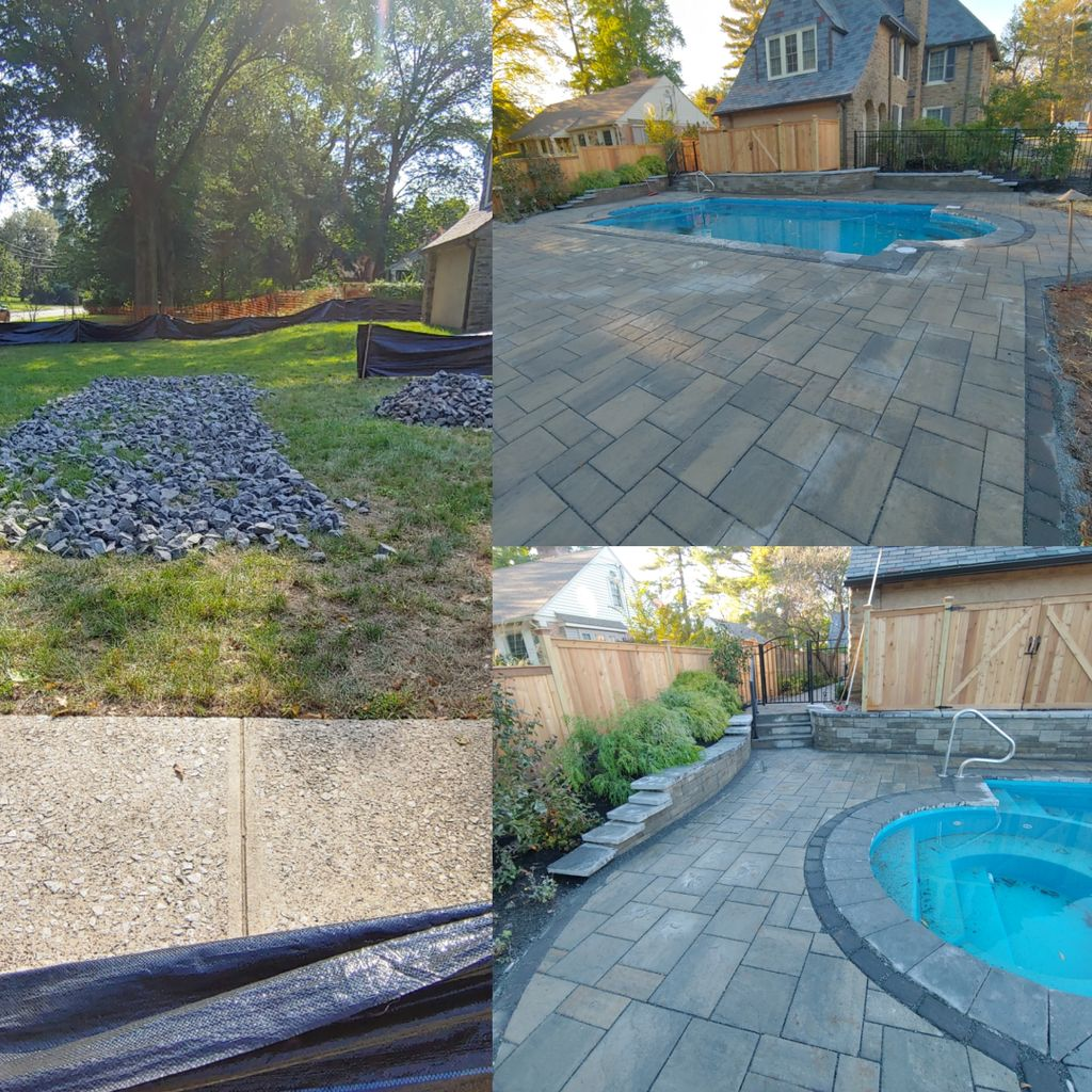 Pool patio, walkway and planting