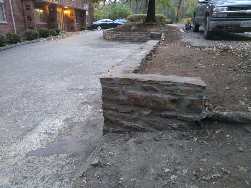 104ft Natural Stone Wall Rebuild