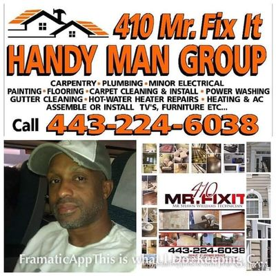 Avatar for 410MrFixIt Handy Man & Carpet Cleaning Baltimore, MD Thumbtack