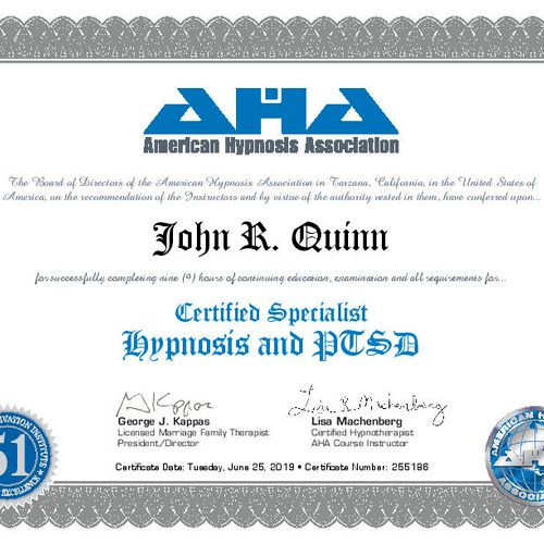 Certified PTSD Hypnotherapist