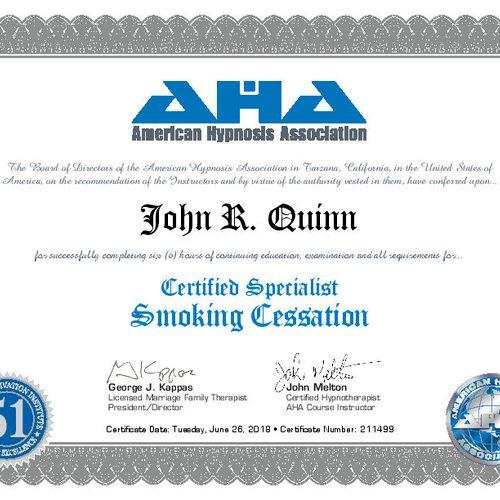 Certified in Smoking Cessation