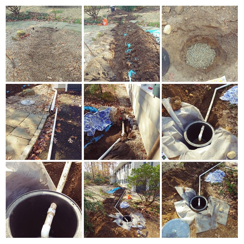 Sump discharge line with drainage pit