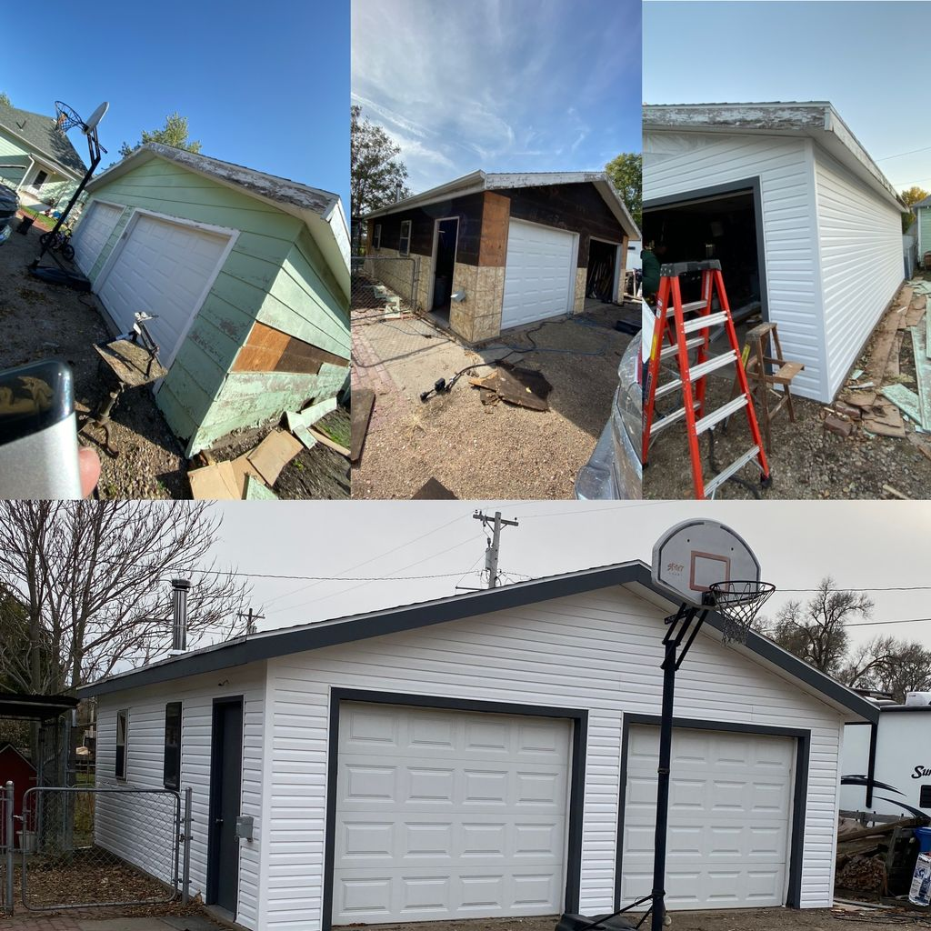 Garage complete exterior remodel and rot repair