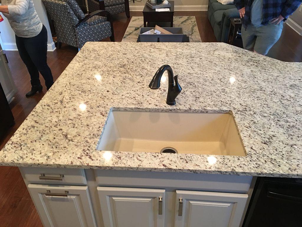 Granite island composite sink swap