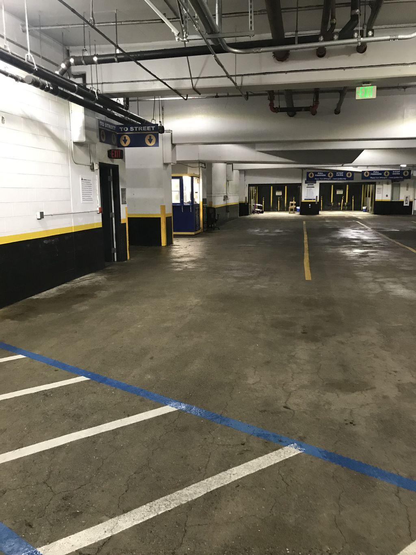 Parking garage power washing