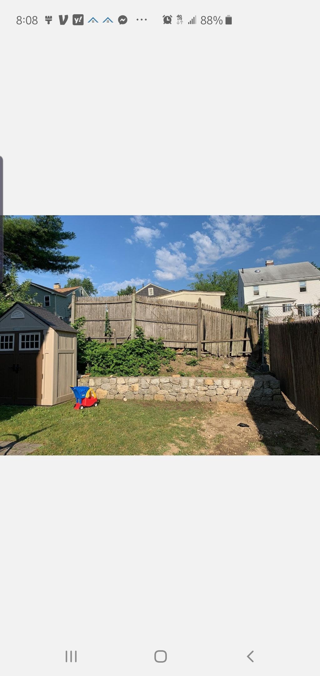 Wall, fence and patio