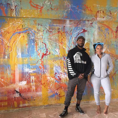Abstract Splatter Mural for Angela Simmons