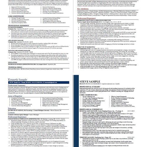 Sample resumes (redacted info)
