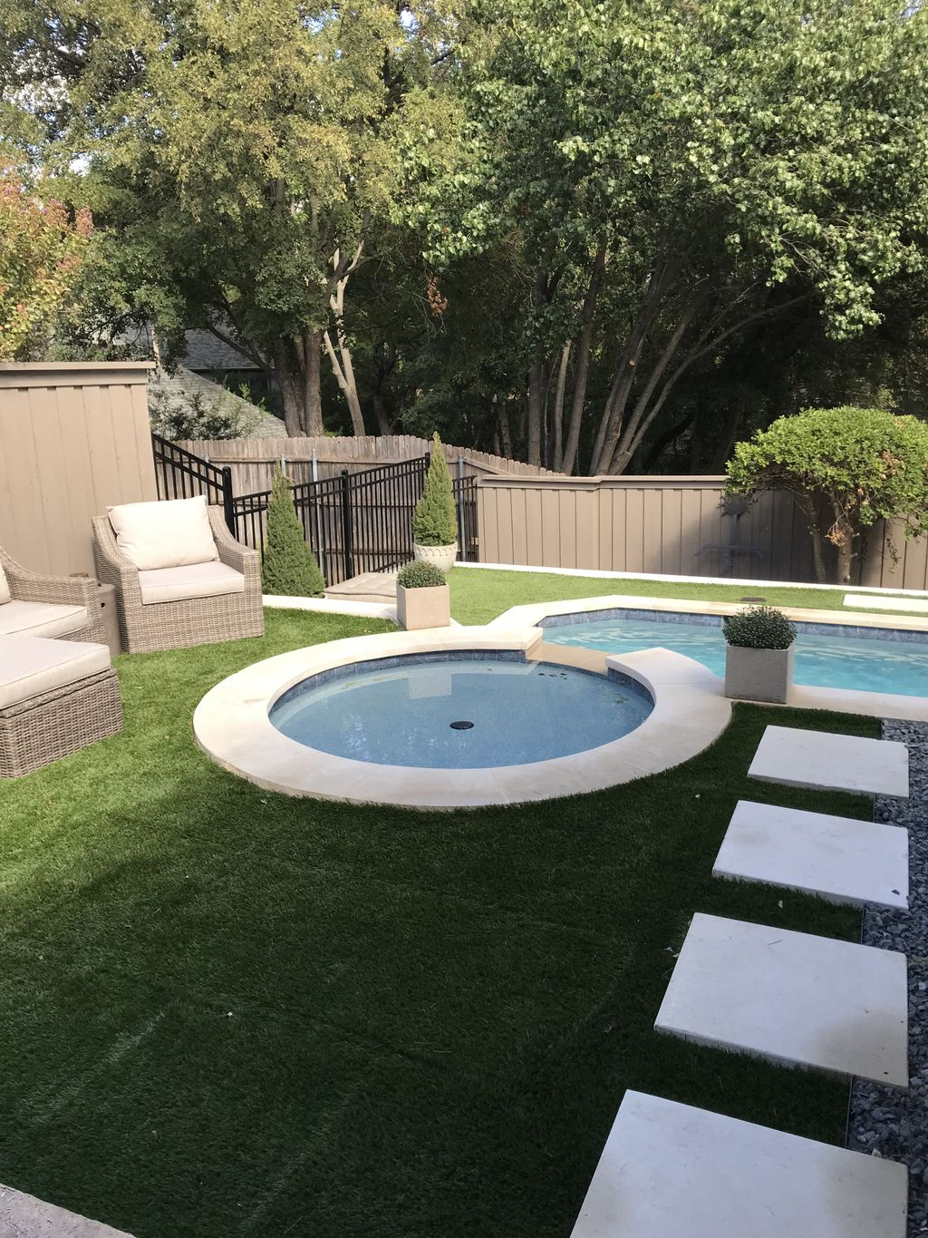 Artificial turf on pool remodel
