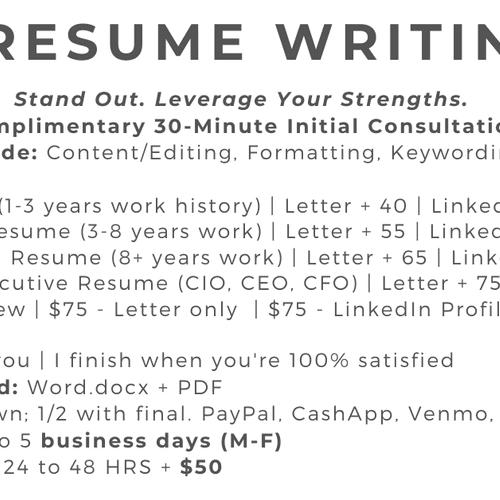 Resume Price Structure
