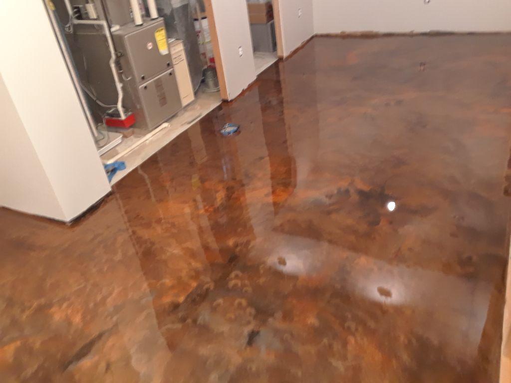 Residential basement metallic epoxy floor