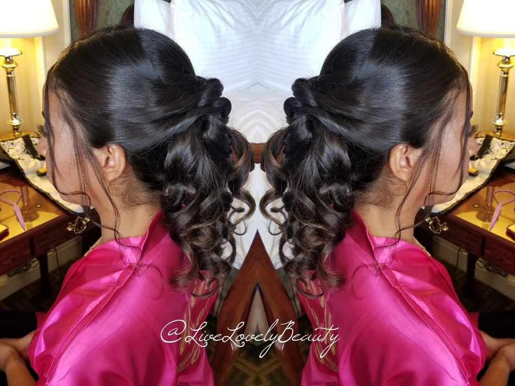 Wedding party of 4 hairstyling