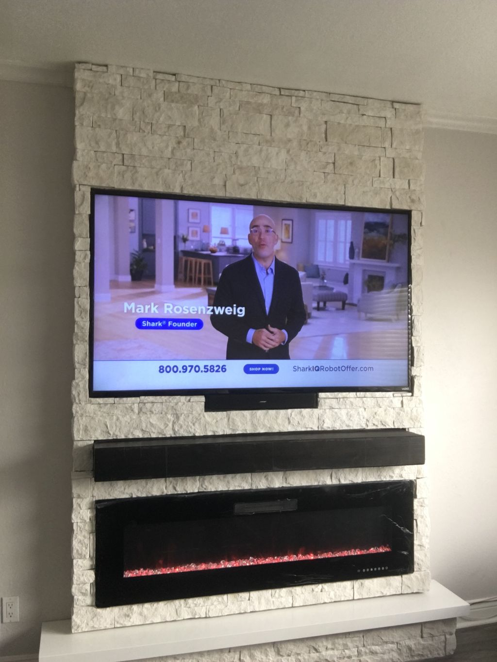 Tv and fireplace stone project