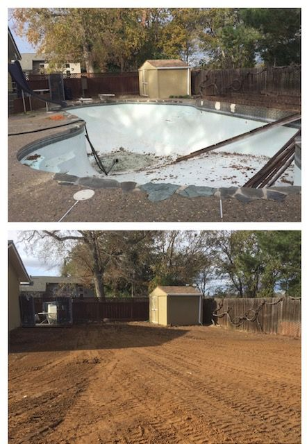 Swimming pool removal and backfill