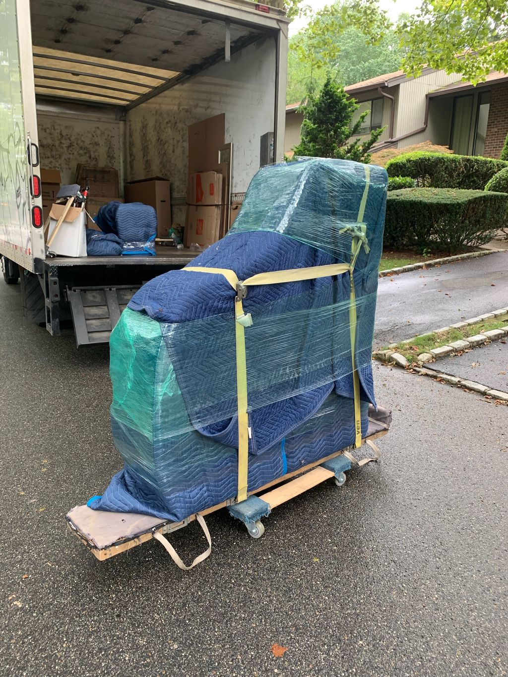 Moving baby grand piano