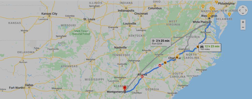 Maryland to  Alabama Round-trip