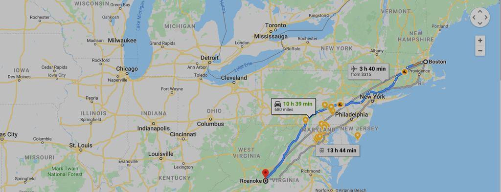 Boston, MA to Roanoke, VA  One-way trip