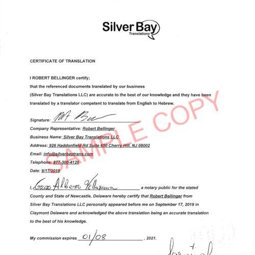 Notarized Translation Certificate