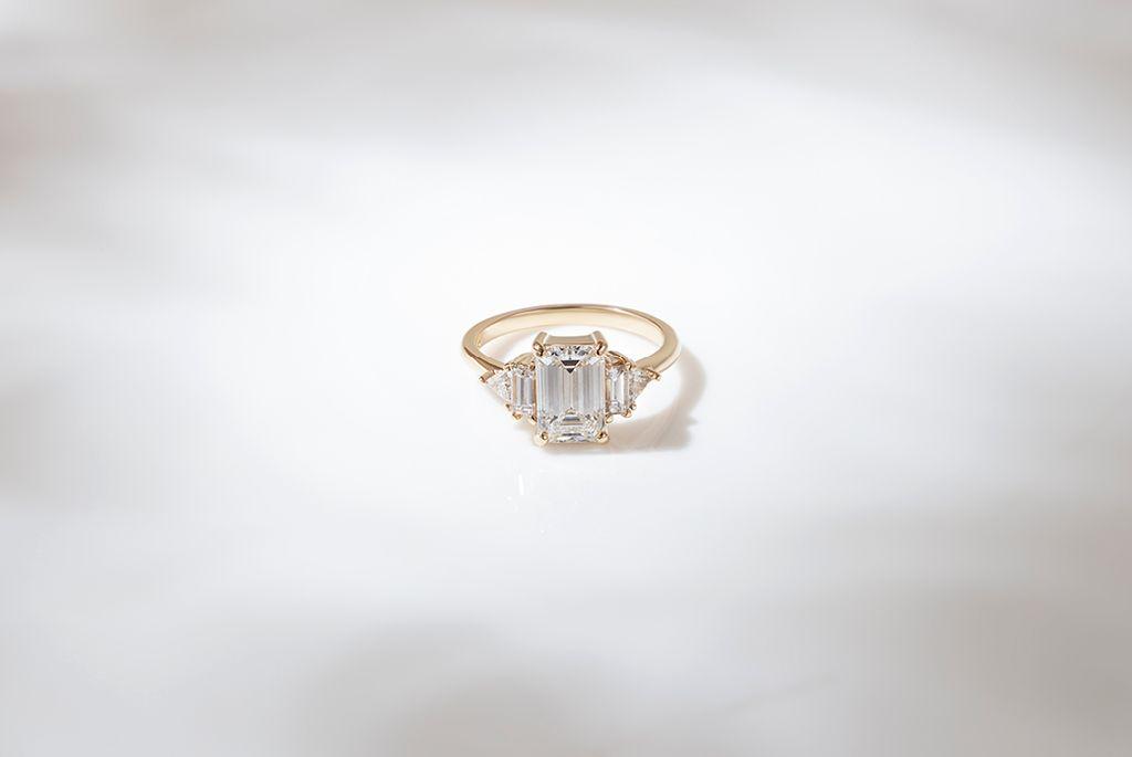 Custom Emerald Cut Diamond Cluster Engagement Ring