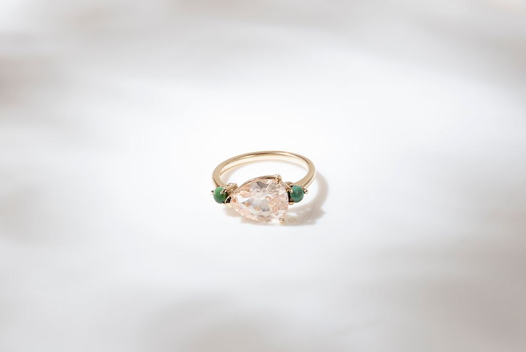 Custom Pear Shape Sapphire & Turquoise Engagement Ring
