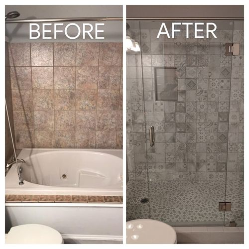 Outdated tub tuned in to modern Walk in Shower