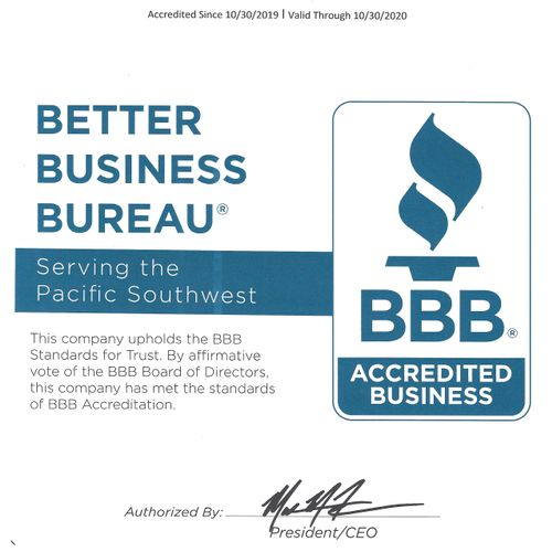 Our BBB certificate