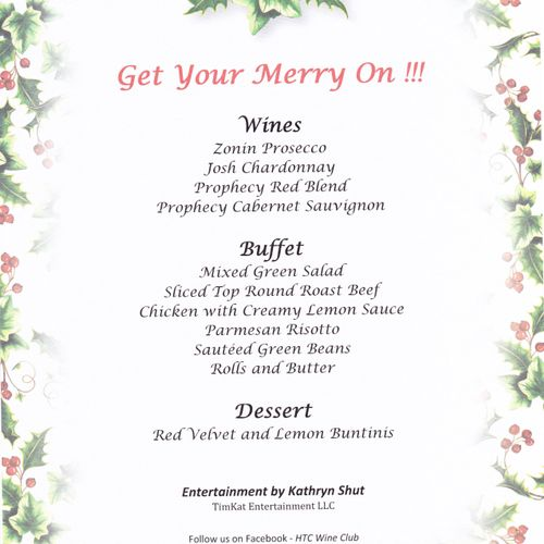 """Honored to be mentioned on the luscious menu at the HTC Wine Club's """"Get Your Merry On"""" 5th Annual Holiday Dinner, Dec 5, 2019!"""