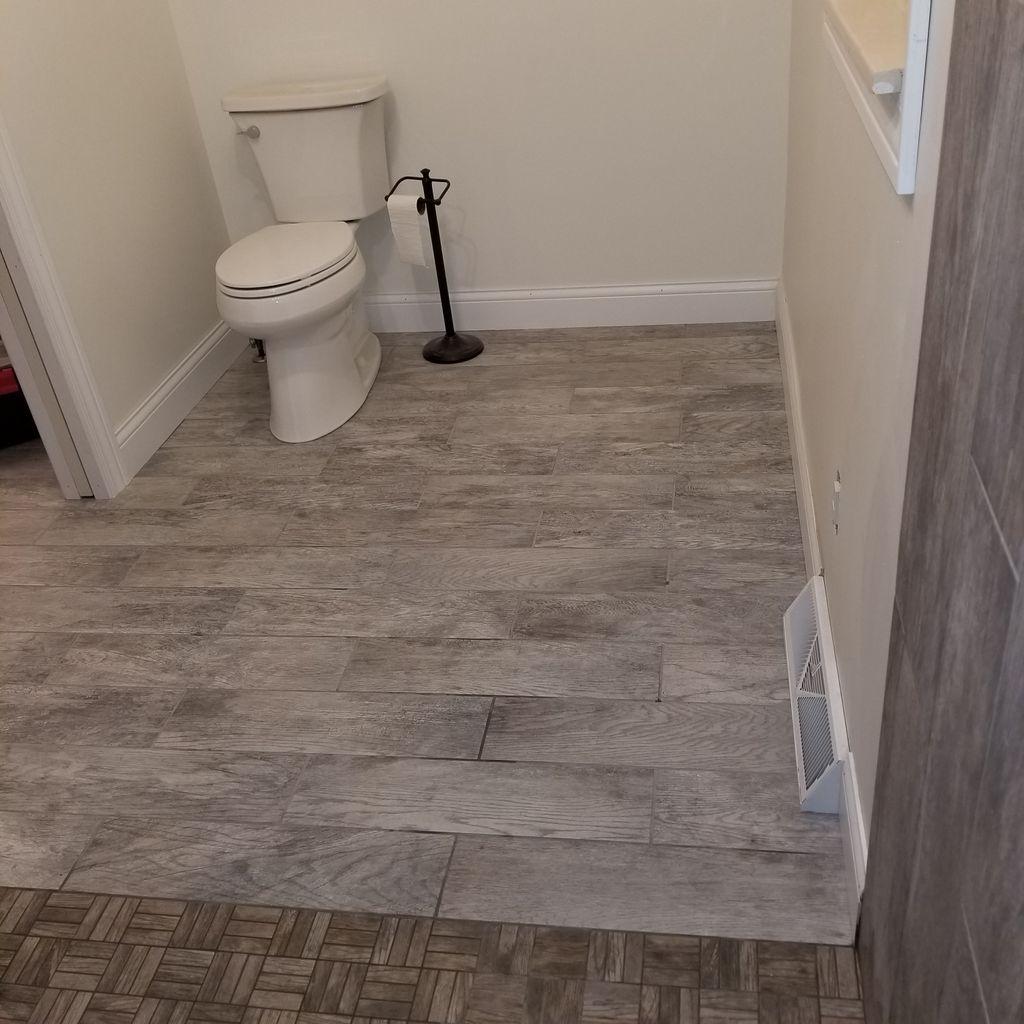 Bathroom, shower vanity and closet area