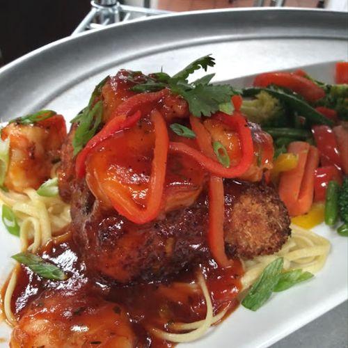 Sweet & Sticky Shrimp w/ Parmesan Crusted Mahi on a Bed of Linguine