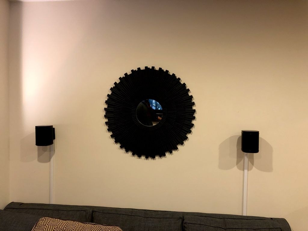 Flat screen in tight space with Sonos audio wall mounts